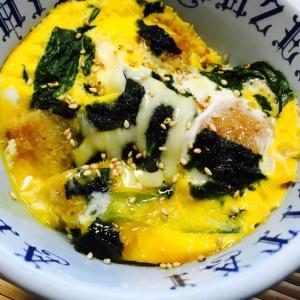 リメイク!ししゃもフライと小松菜の海苔チーズ卵丼