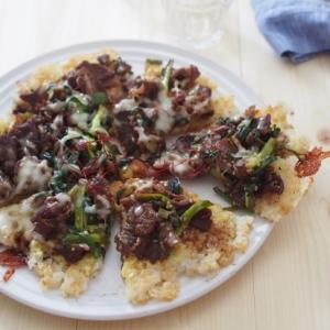 甘辛お肉とネギのライスピザ#チョッキング