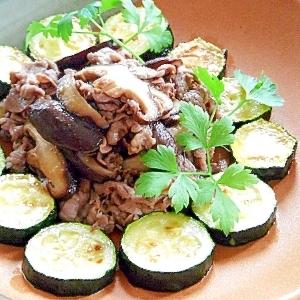 ズッキーニと牛肉ときのこの炒め物