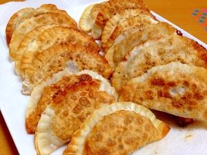 フライパンで揚げ焼き納豆餃子(・o・)