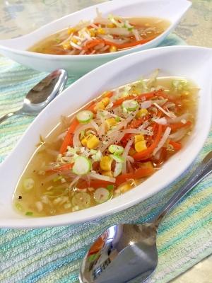コラーゲンスープで★もやしと人参とコーンのスープ