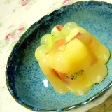❤すり下ろし林檎とキゥイとパイナップルの梅酒寒天❤