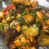 茄子と鶏むね肉のピリ辛照り炒め