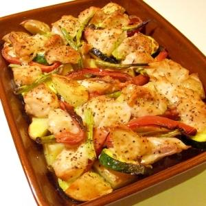 野菜とチキンのオーブン焼き