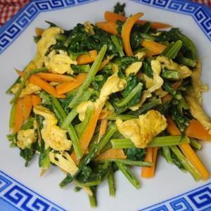 小松菜とたまごのマヨ醤油炒め