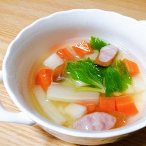 ウインナーとじゃがいもと人参とセロリのスープ