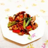 黒ニンニク入り♪豚肉と小松菜の甘酢炒め