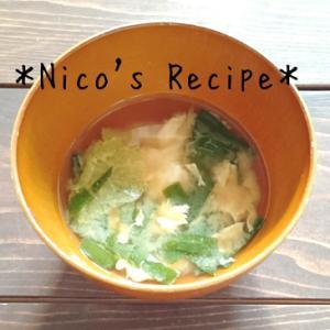 白だしで♪白菜とニラ玉の味噌汁
