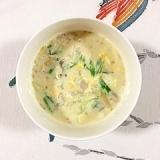 たもぎと水菜の豆乳スープ
