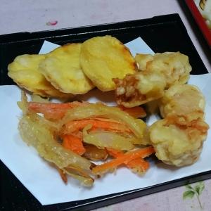 かに焼売とさつま芋の天ぷらとかき揚げで☆天ざる