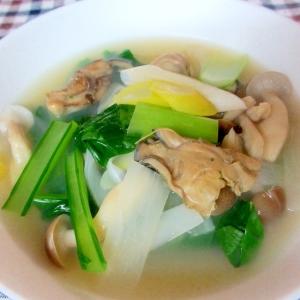 カキとネギと小松菜のスープ