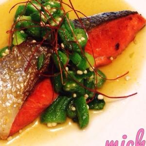 鮭のオクラ柚子胡椒ソース♡