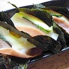 レンジで簡単☆ハム巻きチーズ磯辺餅