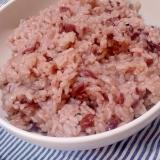 白米と余った切り餅で簡単おこわ風の赤飯(圧力鍋)