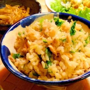 鮭とわさび菜の混ぜご飯