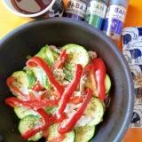 リセットダイエットのための豚肉と夏野菜の重ね焼き