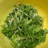水菜とクレソンのオリーブオイルサラダ
