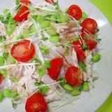 大根と茹で鶏枝豆ミニトマトのサラダ