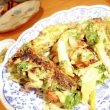 人参葉と玉葱と帆立の天ぷら
