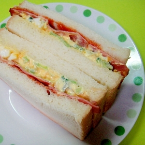 ゴーヤタルタルとベーコンのサンドイッチ