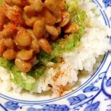 すりおろし胡瓜のピリ辛納豆丼