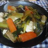 小松菜、豆腐、干しシイタケの炒め煮