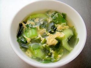 ふんわり卵と青梗菜わかめの和風スープ