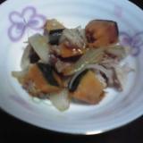 無水鍋でカボチャと玉ねぎとツナの煮付け☆