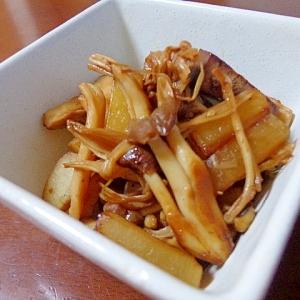 キノコとヤーコンとレバー燻製のピリ辛炒め