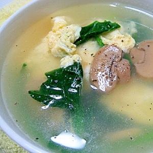 ほうれん草とマッシュルームの卵スープ