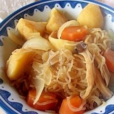 すき焼きの残り汁でじゃが芋とエリンギのごった煮