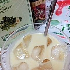 アイス☆パパイヤ酵素&黒酢の美肌青汁きなこミルク♪
