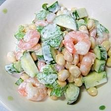 水煮大豆とむきエビのサラダ