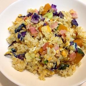 簡単朝食☆紫キャベツとかぼちゃとベーコンの炒飯