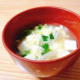 豆腐と卵とえのきと小ねぎの中華スープ