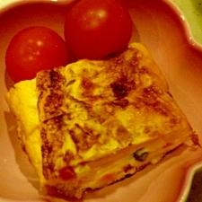 ミックスベジで包丁いらずの卵焼き