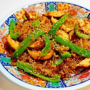 ご飯が止まらない!椎茸とひき肉と春雨のピリ辛炒め