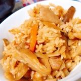 もち麦使用で食物繊維豊富に!鶏ごぼう炊き込みご飯