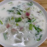 カブと菜花のミルク粥
