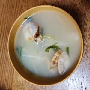 大根と水菜とホタテのお味噌汁