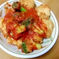 から揚げのブロッコリー&トマトソース