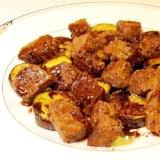 茄子とサイコロステーキのソテー(バルサミコソース)