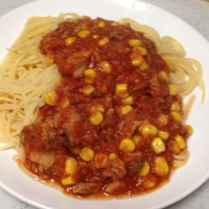 サバ缶とコーンのトマトパスタ