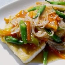 豆腐ステーキの野菜あんかけ