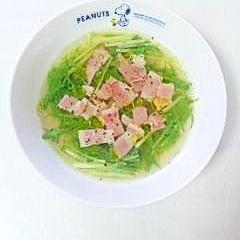 オリーブオイル香る☆水菜とベーコンのスープ☆