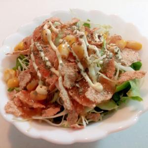 レタス・キャベツ・玄米フレーク・コーンのサラダ