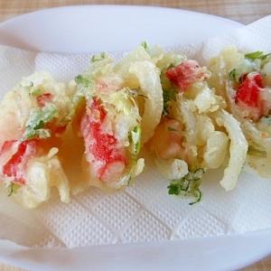 新玉葱と大葉&カニかま天ぷら
