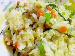 鉄分たっぷり♪小松菜と納豆のチャーハン