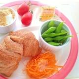 【簡単】チョコで満足!野菜たっぷり朝食ワンプレート