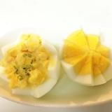 ゆで卵の飾り切り☆ゆで卵のお花のカップサラダ